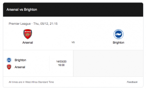 arsenal brighton 5 december 2019