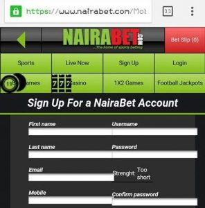 Signing up on nairabet